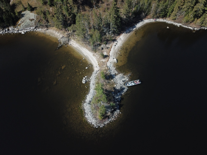aerial view of island on lake of the woods